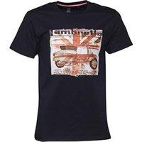 Lambretta Mens Crew Neck Square Scooter Print T-Shirt Navy