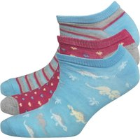 Fruitcake Womens Three Pack Patterned Trainer Liner Socks Sky Blue