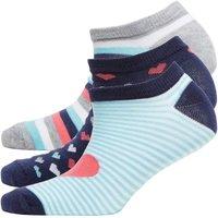 Fruitcake Womens Patterned Three Pack Trainer Liner Socks Blue