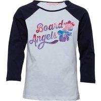 Board Angels Girls 3/4 Sleeve Raglan Top Navy/White
