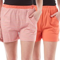 Board Angels Womens Striped/Plain Two Pack Shorts Coral