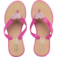 Board Angels Girls Glitter Heart Toe Post Sandals Pink