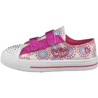 Board Angels Girls Heart Print Embroidery Velcro Pumps White/Pink