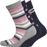 Board Angels Womens Three Pack Socks Pink/Navy/Grey/White