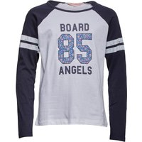 Board Angels Girls Raglan Long Sleeve Top With Floral 85 Print White/Navy