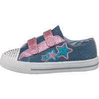 Board Angels Girls Denim Velcro Pumps With Applique Stars Mid Denim/Pink