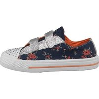 Board Angels Girls Velcro Pumps With Floral Print Navy/Multi
