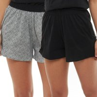 Board Angels Womens Dot Print Plain Two Pack Jersey Shorts Black/Black/White