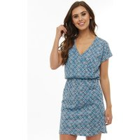 Board Angels Womens Tile Print Short Sleeve Jersey Dress Blue/Navy
