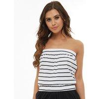 Board Angels Womens Yarn Dyed Striped Jersey Boob Tube White/Black