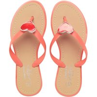 Board Angels Junior Girls Glitter Heart Toe Post Sandals Coral