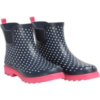 Board Angels Womens Polka Dot Print Short Wellington Boots Navy/White/Pink
