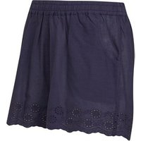Board Angels Girls Cotton Shorts With Broderie Anglaise Hem Trim Navy