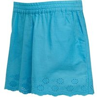 Board Angels Girls Cotton Shorts With Broderie Anglaise Hem Trim Blue