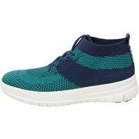 FitFlop Womens Uberknit Slip-On High Top Sneakers Midnight Navy/Parakeet Green