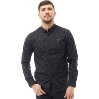 Farah Vintage Mens Muybridge Slim Fit Long Sleeve Shirt Deep Black