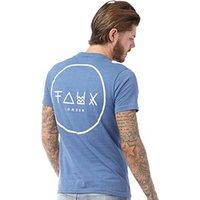 Friend Or Faux Mens Cresent T-Shirt Blue Marl/White