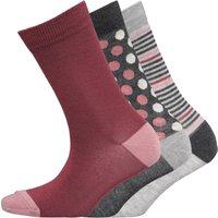 Green Treat Womens Three Pack Socks Grey/Pink/Feeder