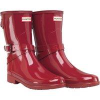 Hunter Original Womens Refined Adjustable Ankle Strap Short Gloss Wellington Boots Scarlett