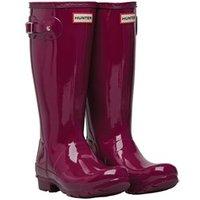 Hunter Original Girls Gloss Wellington Boots Violet
