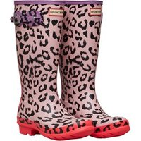 Hunter Original Junior Girls Hybrid Print Wellington Boots Mist Pink/Multi