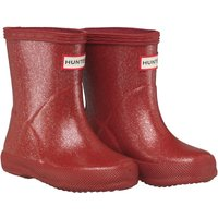 Hunter Girls Original First Glitter Wellington Boots Military Red