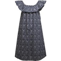 Ribbon Girls Frill Neck Spot Print Dress Navy/White