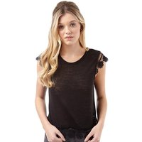 Ribbon Womens Lace Trim Slub Top Black