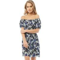 Ribbon Womens Printed Short Sleeve Dress Ecru Multi