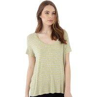 Jacqueline De Yong Womens Spirit Stripe V-Neck T-Shirt Light Grey Melange