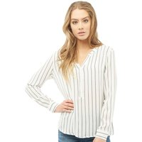 Jacqueline De Yong Womens Jana Long Sleeve Striped Placket Blouse Cloud Dancer/Mini Stripe