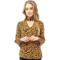 Jacqueline De Yong Womens Milo Leopard Print Blouse Golden Brown/Leopard