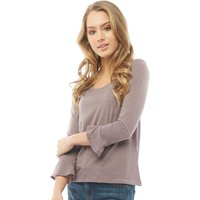 Jacqueline De Yong Womens Cloud 3/4 Length Sleeve O-Neck Striped Top Quail