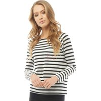 Jacqueline De Yong Womens Boatneck Striped Top Cloud Dancer/Black