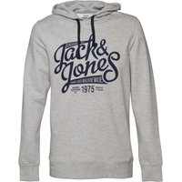 JACK AND JONES Mens Raffa Hoody Light Grey Melange