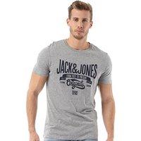JACK AND JONES Mens Casual T-Shirt Light Grey Marl