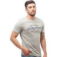 JACK AND JONES Mens Finish T-Shirt Light Grey Melange