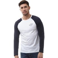 JACK AND JONES Mens Liam Raglan Long Sleeve T-Shirt White/Total Eclipse