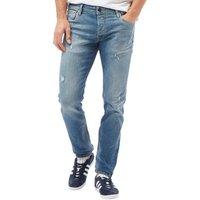 JACK AND JONES Mens Tim Original Slim Fit Jeans Blue Denim