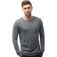 JACK AND JONES Mens Slub Crew Neck Jumper Navy Blazer