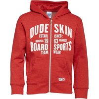 Dudeskin Boys FZ Hooded Sweatshirt Red Marl