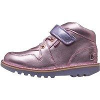 Kickers Infant Girls Kick Glow Hi Boots Black/Pink