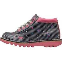 Kickers Girls Kick Hi Joules Lace Up Boots Navy/Pink