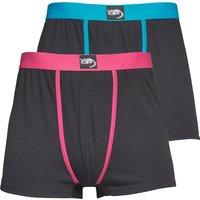 Kangaroo Poo Mens Two Pack Boxers Black/Turquoise/Hot Pink