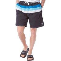 Kangaroo Poo Mens Striped Top Board Shorts Black