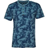 Kangaroo Poo Mens AOP Grandad Neck T-Shirt Blue