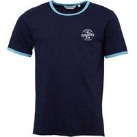 Kangaroo Poo Mens Chest Print Ringer T-Shirt Navy/Blue