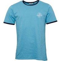 Kangaroo Poo Mens Chest Print Ringer T-Shirt Blue/Navy