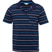Kangaroo Poo Mens Notch Neck Yarn Dyed Striped Polo Navy/White/Turquoise