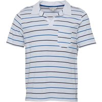 Kangaroo Poo Mens Notch Neck Yarn Dyed Striped Polo White/Navy/Royal